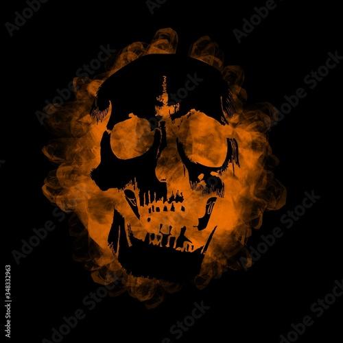 Orange rire skull Canvas Print