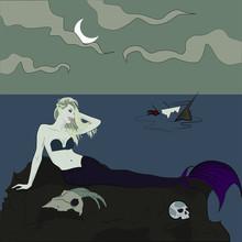 Evil Sexy Mermaid Sitting In A...