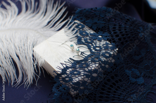Silver earrings with blue zirconium in white box decorated with white feather an Fototapeta