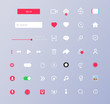 Set of elements for the interface. Universal UI/UX kit for app or web. Screen interface and icons in social media application. Music and video app icons. Colorful navigation long web button. Vector