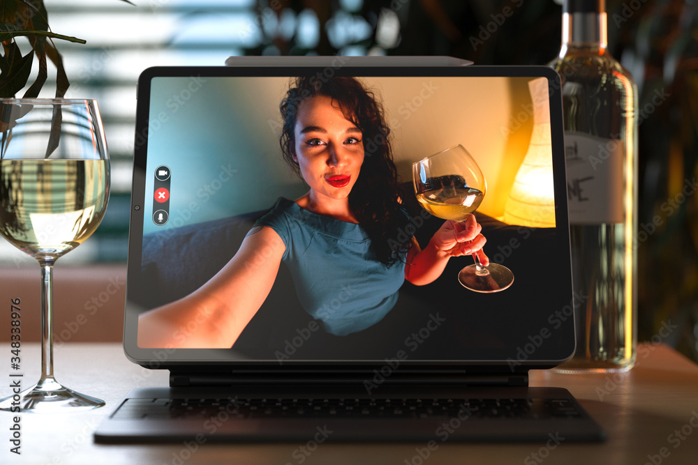 Fototapeta Woman Talking From Tablet By Video Chat To Her Friend And Drinking Wine. Online Date, Meeting With Friends. Stay Home. Social Distance. 3d rendering