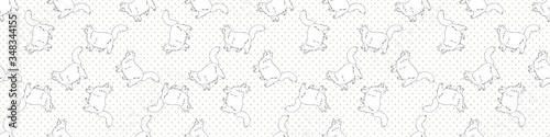 Cute cartoon monochrome Ragdoll kitten seamless vector border Canvas-taulu
