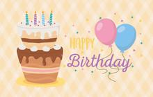 Happy Birthday, Cake Candles Balloons Celebration Checkered Background