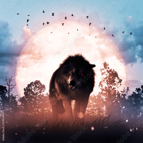 Wolf in a dark mysterious foggy forest,3d rendering Fototapet