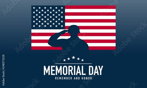 Memorial Day Background Vector Illustration. Remember and Honor. Tableau sur Toile