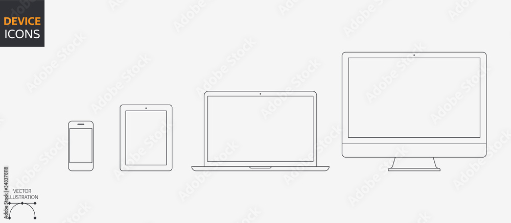 Fototapeta Vector Style Device Icons Set: Desktop Computer, Laptop, Tablet and Smartphone. Outline illustration for Web and App