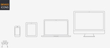 Vector Style Device Icons Set: Desktop Computer, Laptop, Tablet And Smartphone. Outline Illustration For Web And App