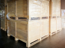 Interior Of Storage Warehouse, Large Shipment Crate Wooden Pallet, Cargo Import And Export, Warehouse Shipping Logistics And Transport