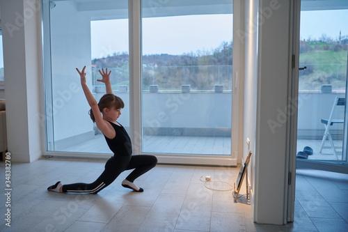 Fototapeta girl online education ballet class at home obraz