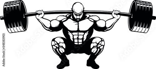 Obraz na plátně Weightlifter squat lift in ass to grass position