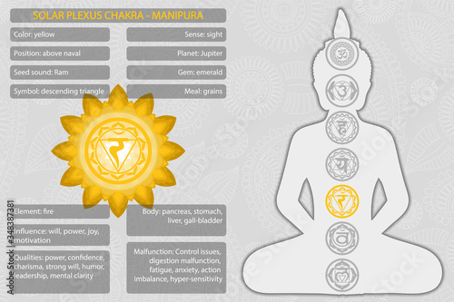 Chakras symbols with description of meanings infographic Fototapet