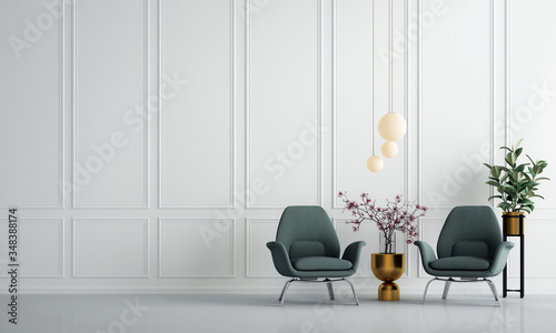 The luxury minimal interior living room design and white color painted texture wall background