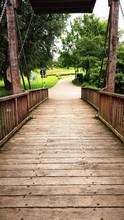 Wooden Footbridge In Park