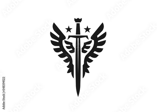 Photographie Sword and wings monogram color logo vector template illustration
