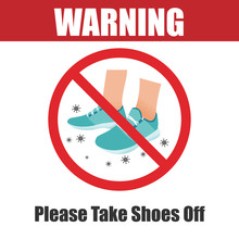 Please Take Your Shoes Off Sign. Protection Due To Coronavirus (COVID-19) Spread.