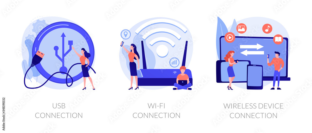 Fototapeta Remote connected devices. Wireless Internet router, modem, data storage device. USB connection, Wi-Fi connection, distance device connection metaphors. Vector isolated concept metaphor illustrations.