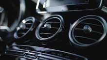 Detail Shot Of A Ventialtion System Of A Car With Black Interieur. Merceds Benz GLC.