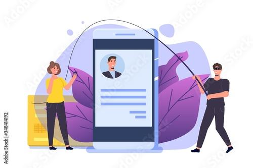 Vászonkép Dating scam, Online dating fraud concept. Vector illustration.