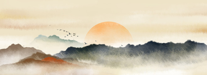 Fototapeta Orientalny Chinese style Oriental ink painting,Ink landscape painting with warm colors in sunny days, traditional classical ink painting