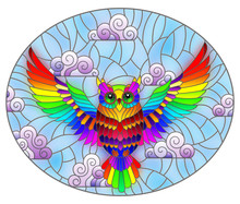 Illustration In Stained Glass Style With Abstract Rainbow Owl Flying On Sky Background With Clouds , Oval Image