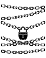 Black Padlock With Chains On A White Background.