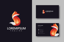 Modern Red Fox Logo And Business Card Template