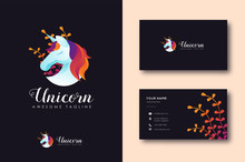 Modern Colorful Unicorn Logo Vector And Business Card Template