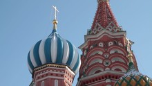 Right To Left Close-up Pan Of St Basil's Domes And Spires. Moscow, Russia