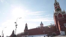 Right To Left Pan From The Kremlin Walls To St Basil's Cathedral In Red Square, Moscow, Russia