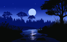Night Scene In Forest With Moon And River