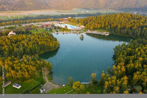 Aya Lake in Altai. Russia. Aerial view Canvas Print