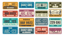 USA License Plate Set. Retro P...