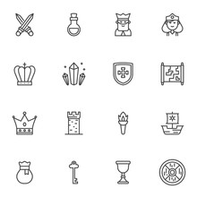 Fairytale Line Icons Set, Outl...