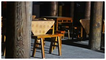 Empty Chairs And Table Arranging At Sidewalk Cafe