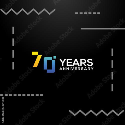 Tela 70 Years Anniversary Gradient Number Vector Design