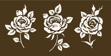 Set Of Decorative Vintage Roses Silhouette. Beautiful Flower Icons With Leaves And Buds. Vector Illustration.