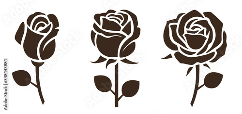 Fotografie, Obraz Flower icon. Set of decorative rose silhouettes. Vector rose