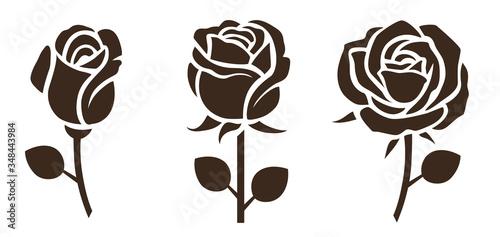 Fototapeta Flower icon. Set of decorative rose silhouettes. Vector rose obraz
