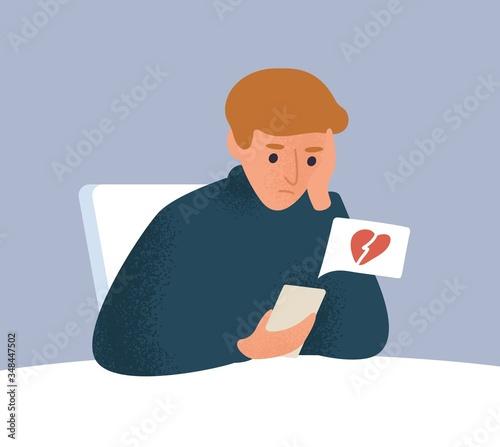 Fotografija Upset male with broken heart look at screen of smartphone vector flat illustration