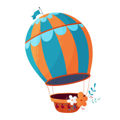 Cute romantic striped balloon with basket. Flying machine. Children s illustration