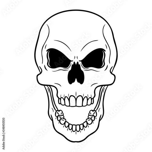 Monochrome Evil Flashing Skull With An Open Mouth Vector Drawing Isolated On White Buy This Stock Vector And Explore Similar Vectors At Adobe Stock Adobe Stock