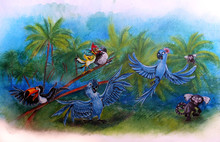 Children's Drawing Blue Parrot...