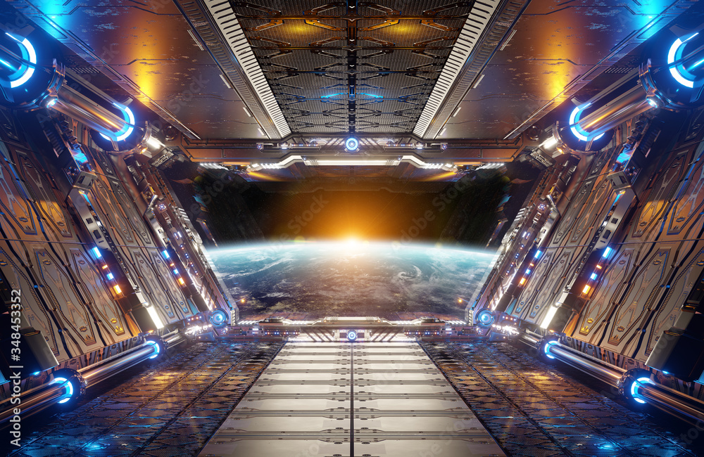 Fototapeta Orange and blue futuristic spaceship interior with window view on planet Earth 3d rendering