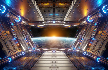 Panel Szklany 3D Orange and blue futuristic spaceship interior with window view on planet Earth 3d rendering