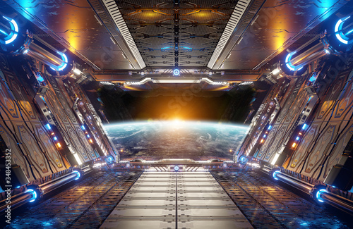 Fototapeta Orange and blue futuristic spaceship interior with window view on planet Earth 3d rendering obraz