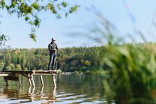Fishing In River.A Fisherman W...