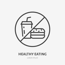 No Fast Food Line Icon, Vector Pictogram Of Unhealthy Eating. Fastfood Forbidden Illustration, Sign For Diet