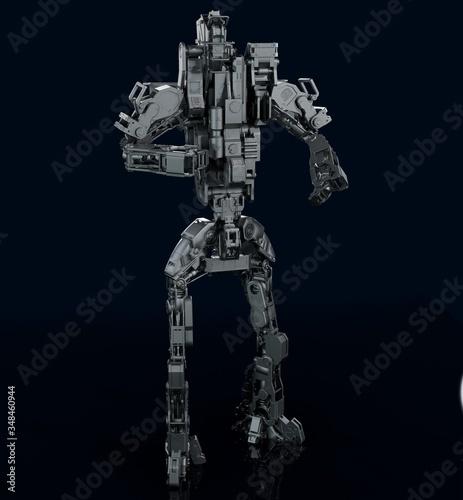 Robot 3d render, mechanical android 3d model Canvas Print
