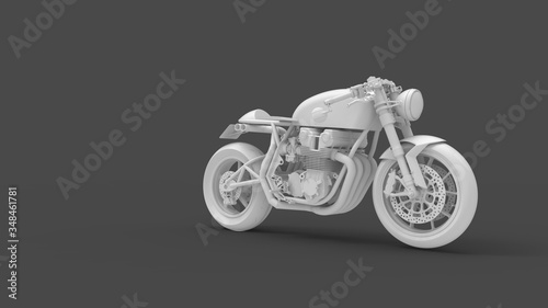 Valokuvatapetti 3D rendering of a cafe racer isolated motorcycle bike two wheels vintage