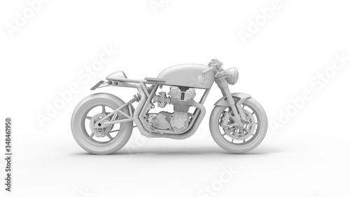 Photo 3D rendering of a cafe racer isolated motorcycle bike two wheels vintage